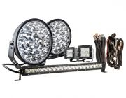 """Kings 9"""" Domin8r Xtreme Driving Lights Fitted with OSRAM LEDs (Pair) with Included 20"""" Lightbar, 3"""" Worklights & Wiring Harnesses 