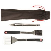 Kings BBQ Tools | Stainless Steel | 3-Pack | Sturdy | Lightweight | incl tool roll