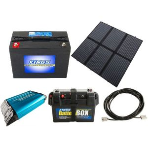 Adventure Kings 200W Solar Blanket with MPPT + Kings 98Ah AGM Deep Cycle Battery + 1500W Pure Sine Wave Inverter + Battery Box + 10m Lead For Solar Panel Extension