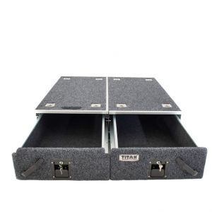 Titan Drawer System - 1070mm (without wings)   Suitable for most 4WD Wagons   Inc. Fridge Slide
