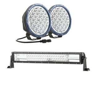 """Kings OSRAM Domin8r X 9"""" LED Driving Lights (Pair) + Domin8r 22"""" LED Light Bar"""