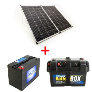 Adventure Kings 250w Solar Panel + AGM Deep Cycle Battery 115AH + Battery Box