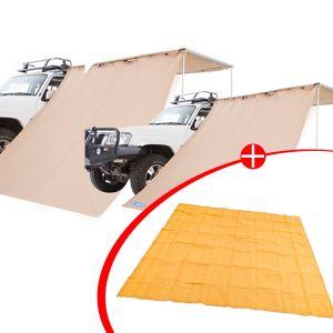2x Adventure Kings Awning Side Wall + Mesh Flooring 3m x 3m