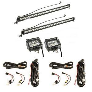 "2x Kings 30"" Slim Line LED Light Bar + Adventure Kings 4"" LED Light Bar + 2x Plug n Play Harness"