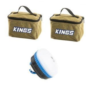 2x Adventure Kings Toiletry Canvas Bag + Mini Lantern