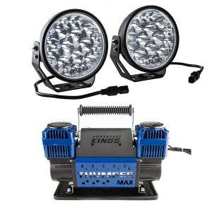 "Adventure Kings Domin8r Xtreme 7"" LED Driving Lights (Pair) + Thumper Max Dual Air Compressor MkII"