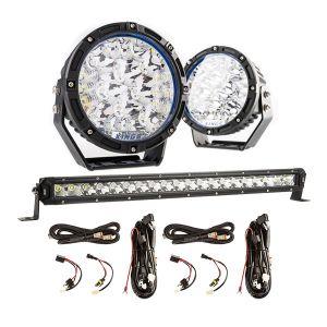 "Kings Lethal 7"" Premium LED Driving Lights (Pair) + 20"" LETHAL MKIII Slim Line LED Light Bar + 2X Smart Harness"