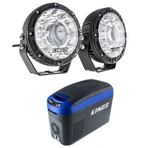 """Kings 7"""" Laser Driving Lights (Pair) + 15L Centre Console Fridge/Freezer"""