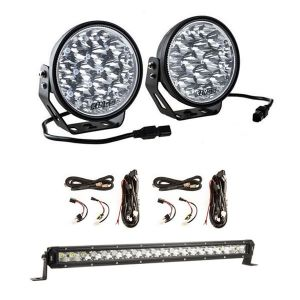 "Adventure Kings Domin8r Xtreme 7"" LED Driving Lights (Pair) + 2x Plug N Play Smart Wiring Harness Kit + 20"" LETHAL MKIII Slim Line LED Light Bar"