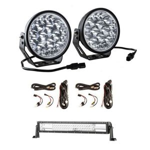 "Adventure Kings Domin8r Xtreme 7"" LED Driving Lights (Pair) + 2x Plug N Play Smart Wiring Harness Kit + Domin8r 22"" LED Light Bar"