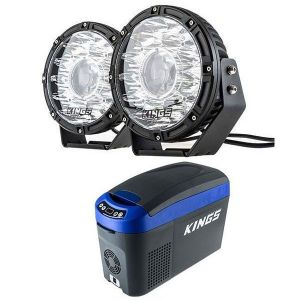 "Kings 8.5"" Laser MKII Driving Lights (pair) + 15L Centre Console Fridge/Freezer"