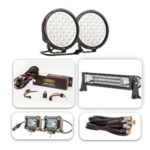 "Pair of 9"" Driving Lights, 22"" Light Bar & 2x 4"" Light Bar Ultimate Pack