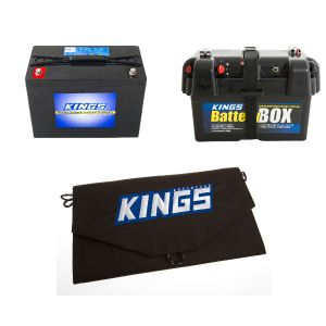 Adventure Kings AGM Deep Cycle Battery 98AH + Battery Box + 10W Portable Solar Kit