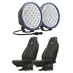 """Kings OSRAM Domin8r X 9"""" LED Driving Lights (Pair) + Adventure Kings Heavy Duty Seat Covers (Pair)"""
