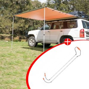 Adventure Kings 2.5 x 2.5m 2 in 1 Awning + Strip Light  + Orange LED Camp Light Extension Kit