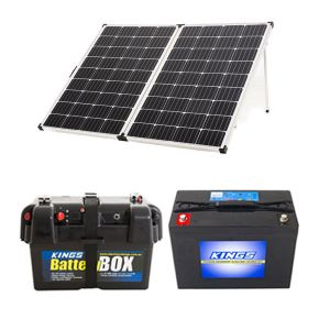 Adventure Kings 250w Solar Panel + AGM Deep Cycle Battery 98AH + Battery Box