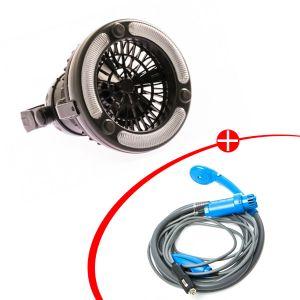 Adventure Kings Portable Shower Kit + 2in1 LED Light & Fan