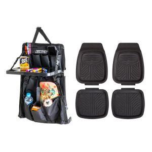 Adventure Kings Premium Car Seat Organiser with Folding Table + 4 Pack Kings Deep Dish Floor Mats