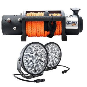 "Domin8r X 12,000lb Winch with rope + Kings Domin8r Xtreme 9"" LED Driving Lights"