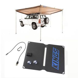Adventure Kings 270° King Wing Awning + 10W Portable Solar Kit