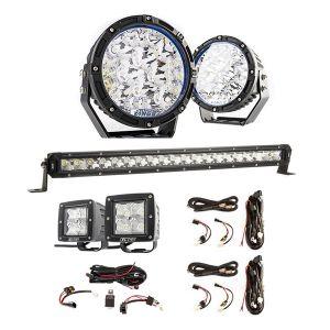 "Kings Lethal 7"" Premium LED Driving Lights (Pair) + 20"" LETHAL MKIII Slim Line LED Light Bar + 3"" Work Lights (Pair) + 2X Smart Harness + LED Light Bar Wiring Harness"