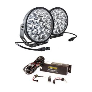 """Adventure Kings Domin8r Xtreme 9"""" LED Driving Lights (Pair) + Spotlight Wiring Harness"""