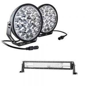 "Adventure Kings Domin8r Xtreme 9"" LED Driving Lights (Pair) + Domin8r 22"" LED Light Bar"