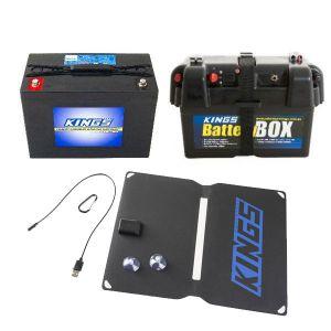 Adventure Kings AGM Deep Cycle Battery 98AH + Battery Box + 10W Portable Solar Kit