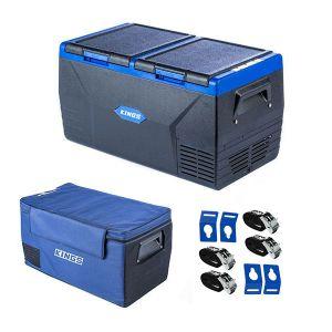 Kings 75L Dual Zone Fridge / Freezer + 75L Fridge Cover + Portable Fridge Tie-Down Kit (4-Pack)