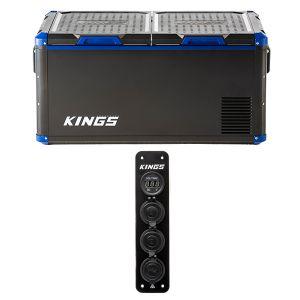 Kings 90L Camping Fridge Freezer + 12V Accessory Panel