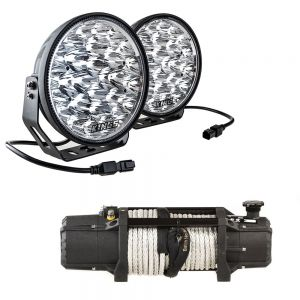 "Domin8r Xtreme 12,000lb Winch + Adventure Kings Domin8r Xtreme 9"" LED Driving Lights (Pair)"
