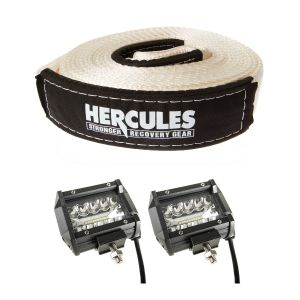 "Hercules - Snatch Strap 11000kg  + 4"" LED Light Bar (Pair)"