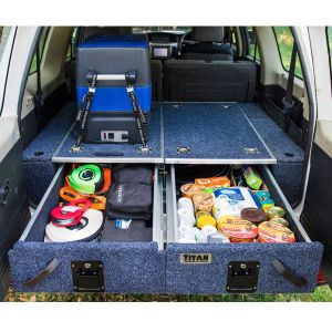Titan Rear Drawer + Wings - Suitable for Nissan Patrol DX, ST, STI, ST-S | Incl Fridge Slide