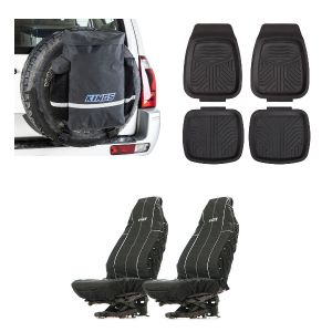 Kings Premium 48L Dirty Gear Bag + Deep Dish Floor Mats Set of 4 + Heavy Duty Seat Covers