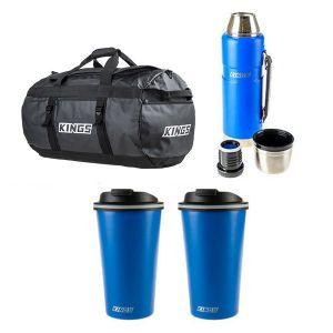 Adventure Kings 80L Large PVC Duffle Bag + 1.2L Vacuum Flask + 2x 410ml Travel Mug