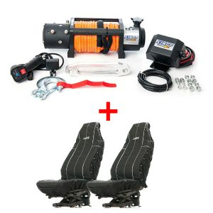Domin8r X 12,000lb Winch with rope + Adventure Kings Heavy Duty Seat Covers (Pair)
